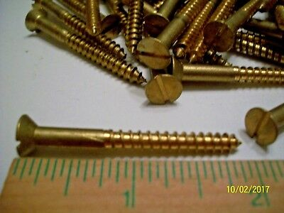 "40 - Vintage, Unused, 2"" X #10 Flat Head Brass-Bronze Wood Screws, Real Nice !"