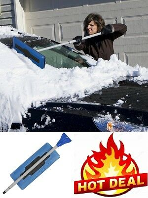 Snow Broom with Ice Scraper Winter Tescoping Brush Car Frost Removal Clean Tool