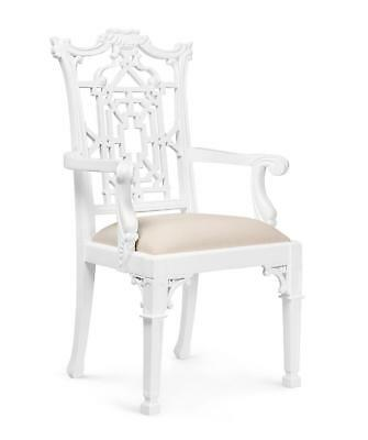 Bungalow 5 Chippendale Traditional White Lacquered Mahogany Armchair Set of 2