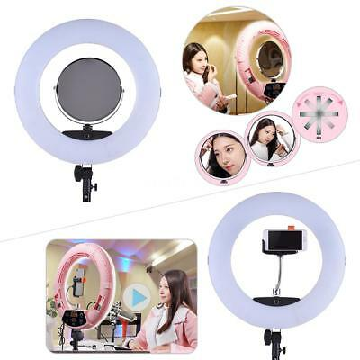 "17.7"" DIVA LED Dimmable Photo Video Ring Light Kit + Make-up Mirror phone Holder"