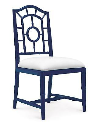 Bungalow 5 Chloe Traditional Navy Blue Lacquered Mahogany Side Chair Set of 2