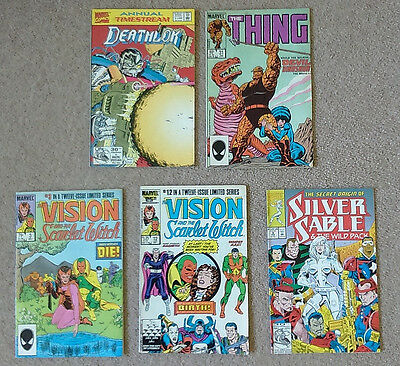5 comics: Deathlok annual issue 1, The Thing,  Secret Origin of Silver Sable,...