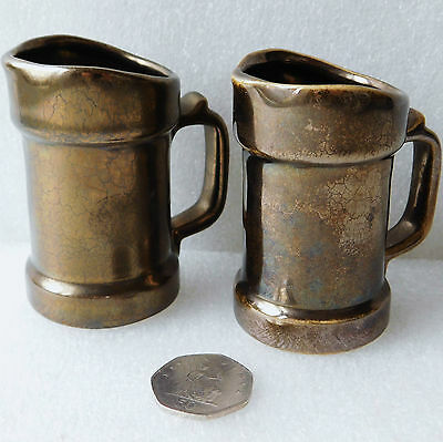 Pair of Prinknash Pottery jugs for cream milk sauce Lustre miniature tankards