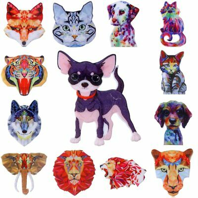 Chic Printing Pattern Pin Brooch Dog Cat Animal Women Jewellery Xmas Party Gift