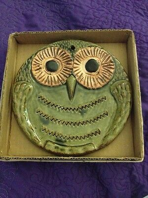 Mid Century Pottery Vandor Owl  Ceramic Green JAPAN Wall Hanging Decor Home