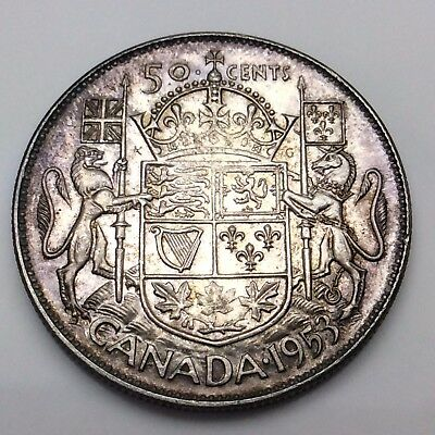 1953 Canada Fifty 50 Cent Silver Half Dollar Canadian Coin C427X