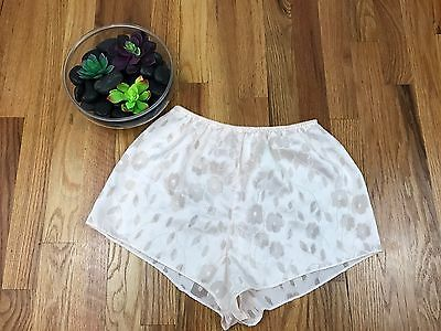 VTG Silky High Waisted Underwear Shorts Cream Floral Sheer Cut Out Sexy Small AH