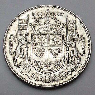 1944 Wide Date WD Canada Fifty 50 Cent Silver Half Dollar Canadian Coin C430