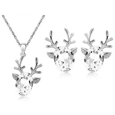 Christmas Party Gift Jewellery Set White Deer Earrings & Necklace Pendant S974