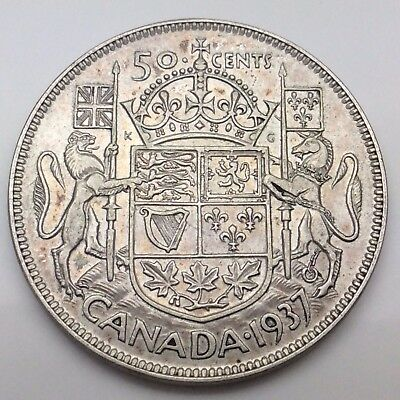 1937 Canada Fifty 50 Cent 800 Silver Half Dollar Canadian Coin C439