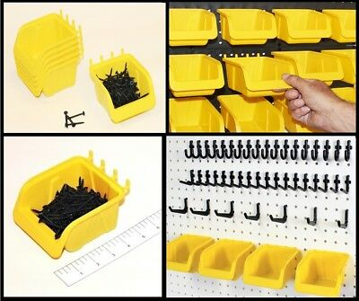 "WallPeg 56 Pegboard Kit Storage Part Bins and Flex-Lock Peg Hooks for 1/4"" holes"