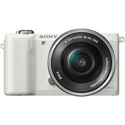 Sony Alpha a5000 Mirrorless Digital Camera with 16-50mm Lens (White) NEW