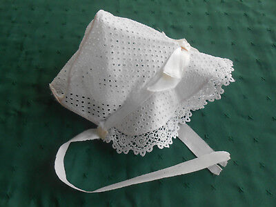 Antique Eyelet Baby Bonnet, Pastel Pink With Pretty Lace Trim, Circa 1940