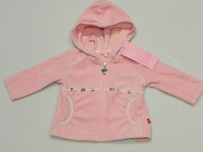 Escada baby girl Sz 6m 00 - 0 hooded pink velour zip jacket jumper with charms