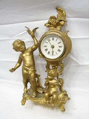 Vintage Spelter Cast Metal Cherub Figural Garniture Figural Clock Germany