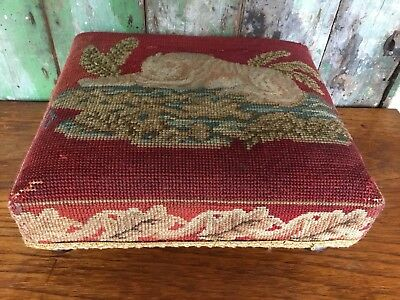 Antique Wooden Footstool With Tapestry Top Lion