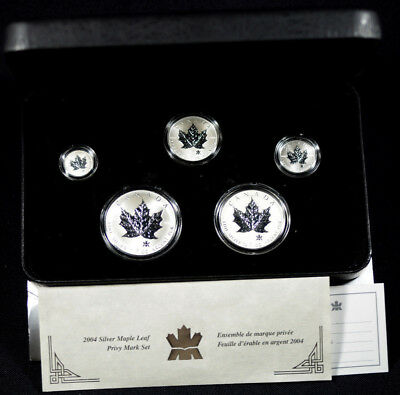 2004 Canada 5-Coin Silver Privy Maple Leaf Reverse Proof Set