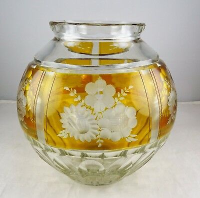 Bohemian Amber Cut to Clear Art Glass Rose Bowl - Quality Floral Engraving