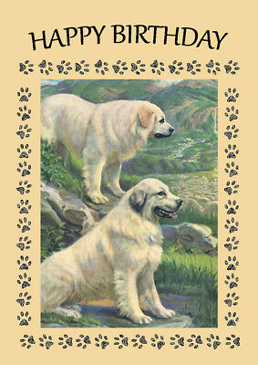Pyrenean Mountain Dog Two Dogs Great Dog Birthday Greetings Note Card