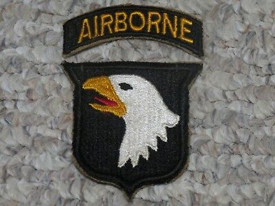 WW2 US Army 101st Airborne Division Patch with Tab Screaming Eagle WWII Cut Edge
