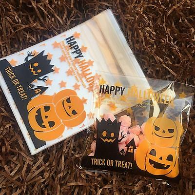 100pcs 10x10cm Halloween Cookies Candy Party Supplies Self Adhesive Gift Bags