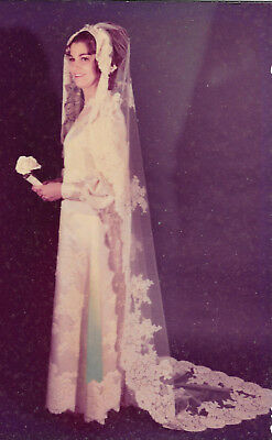 Vintage Wedding Dress And Veil-1971-Hand Sewn-Pearls-Excellent Condition