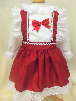 Dream Spanish Traditional Xmas White Red Pinafore Efect Dress 0-7 Years Lined