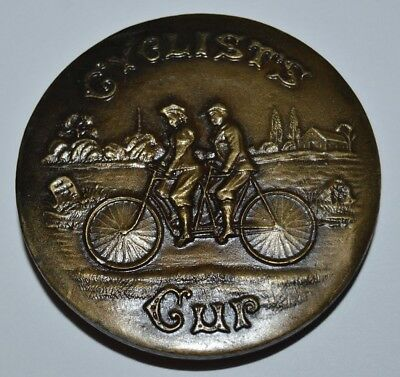 1970s Vintage Cyclist Cup Tandem Bike Brass Tone Round Belt Buckle RARE MINT