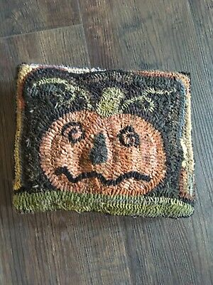 primitive hooked pillow halloween