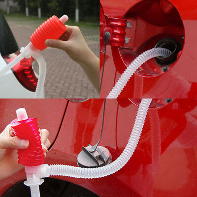 Auto Car Manual Hand Siphon Pump Hose Gas Oil Syphon Transfer Pump Plastic 1Pcs