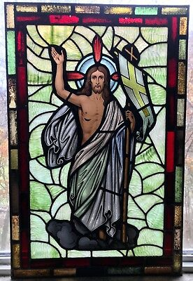 Vintage Jesus Stained Glass Window Panel, Red and Green, Christmas