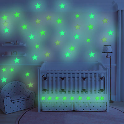 100pcs 3D Star Fluorescence Glow Wall Stickers Baby Child Bedroom Decor Decal TP