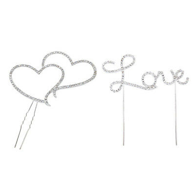 Love Letter & Double Heart Rhinestone Cake Topper Decoration for Cakes X0A3