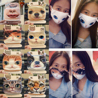 Cute Unisex 3D Cat Dog Face Cycling Anti-Dust Cotton Mouth Face Mask Respirator