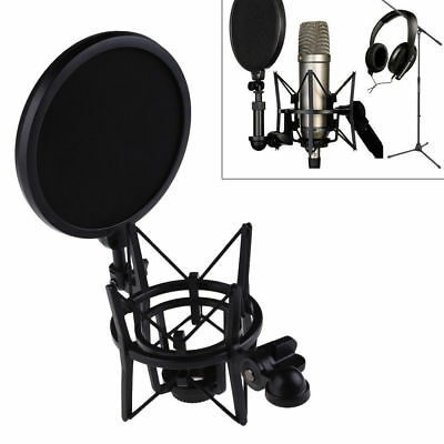 New Microphone Mic Professional Shock Mount Holder with Pop Shield Filter Screen