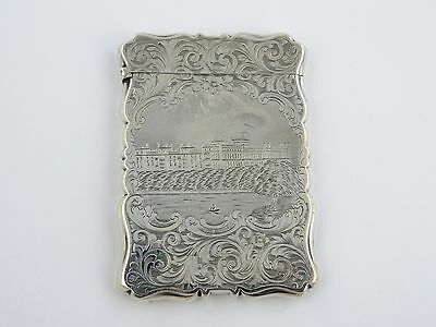 Fine quality SILVER WINDSOR CASTLE RIVER THAMES CARD CASE, Birmingham 1856 box