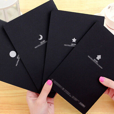 Black Paper Graffiti Book Diary Sketch Drawing Notebook Stationary Gift Eyeful