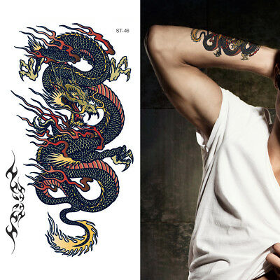 40283849a Supperb Dragon Tattoo Temporary Tattoos - Dragon on Fire II Temporary Tattoo