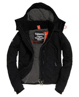 New Womens Superdry Hooded Sherpa Quilted SD-Windcheater Black