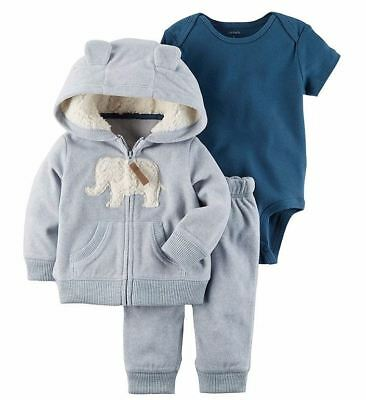 CARTERS Newborn 3 6 9 12 18 24 Month Clothes Outfit Set Baby Boy Elephant Hoodie