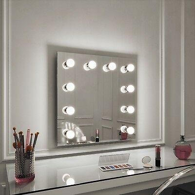 Hollywood Meryl Mirror Illuminated Wall Mounted Mirror 60 x 60 Make Up Mirror