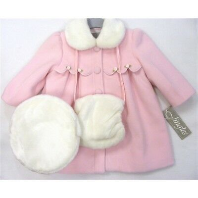 Jingles Traditional Girls Romany Spanish Style Pink Coat Hat Muff Set 6 months