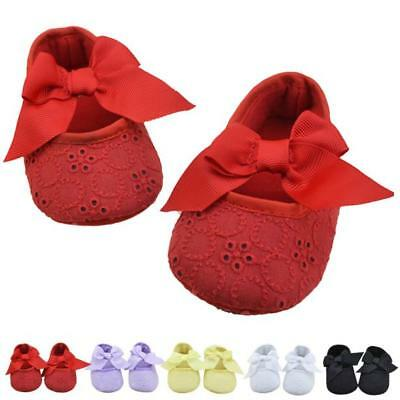 Newborn Infant Baby Girl Cotton Ribbon Bowknot Soft Bottom Flower Soft Crib Shoe