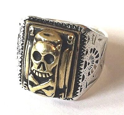 1930s 40s 50s Art Deco Mexican Biker Skull Ring Rockabilly Vintage Style