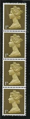 Sg 724 1d Light Olive Machin PVA 2B Vertical coil strip - UNMOUNTED MINT/MNH