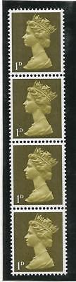 Sg 724 1d Yellow Olive Machin PVA 2B Vertical coil strip - UNMOUNTED MINT/MNH
