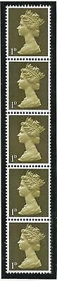 Sg 724 1d Greenish Olive Machin PVA 2B Vertical coil strip - UNMOUNTED MINT/MNH