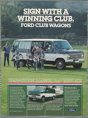 1984 FORD VAN advertisement, Ford Club Wagon ad, van towing trailer