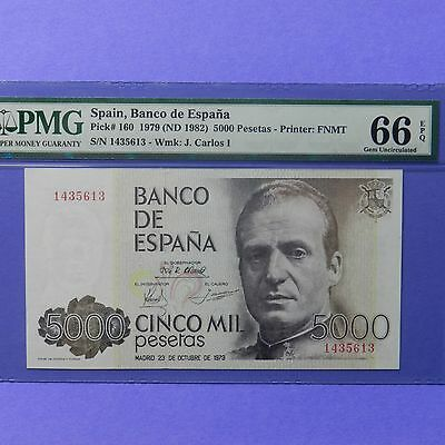 Spain 1979 (ND 1982)  5000 Pesetas, Pick # 160, PMG 66 EPQ Gem Unc