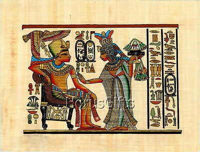 **Rare** Genuine Hand Painted Authentic Egyptian Papyrus (King Tut and Wife)